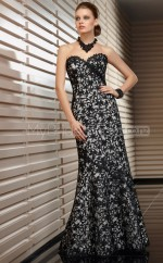 Lace A-line Sweetheart Sweep Train Black Ball Dresses (NZJT06653)