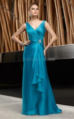 Charmeuse A-line V-neck Sweep Train Pool Ball Dresses (NZJT06655)