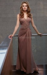 Brown A-line V-neck Chiffon Long Ball Dresses (NZJT06656)