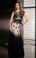Tulle A-line Jewel Floor-length Black Ball Dresses (NZJT06659)