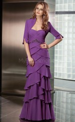 Chiffon A-line Sweetheart Sweep Train Grape Ball Dresses (NZJT06660)