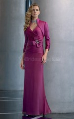 Chiffon A-line V-neck Floor-length Grape Ball Dresses (NZJT06670)