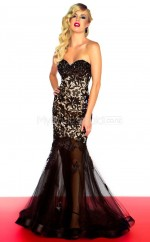 Tulle Mermaid Sweetheart Court Train Black Ball Dresses (NZJT06671)
