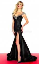 Taffeta Mermaid V-neck Court Train Black Ball Dresses (NZJT06672)