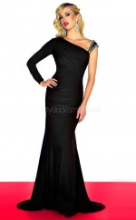 Black Mermaid Court Train Chiffon One Shoulder Ball Dresses (NZJT06676)