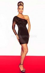 Black Sheath Short Charmeuse One Shoulder Ball Dresses (NZJT06682)