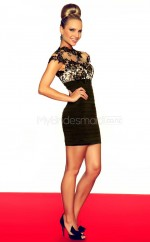 Black Lace Sheath High Neck Short School Ball Gowns(NZJT06683)
