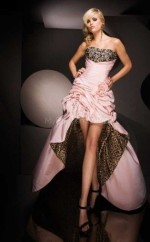 Chiffon A-line Strapless Sweep Train Pearl Pink Ball Dresses (NZJT06686)