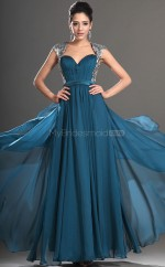 Chiffon A-line Square Floor-length Ink Blue Ball Dresses (NZJT06691)