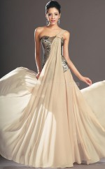 Champagne A-line Floor-length Lace One Shoulder Ball Dresses (NZJT06692)