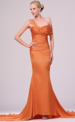Orange Mermaid Straps Satin Chiffon Long Ball Dresses (NZJT06703)
