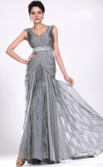 Silver Mermaid V-neck Lace Long Ball Dresses (NZJT06704)