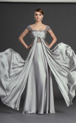 Silver A-line Off The Shoulder Satin Chiffon Long Ball Dresses (NZJT06706)