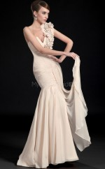 Champagne Mermaid Sweep Train Chiffon One Shoulder Ball Dresses (NZJT06708)