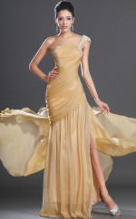 Chiffon Mermaid One Shoulder Sweep Train Gold Ball Dresses (NZJT06709)