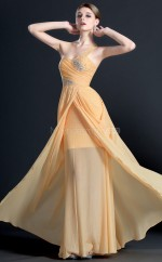 Light Orange 559 Mermaid Floor-length Chiffon One Shoulder Ball Dresses (NZJT06710)