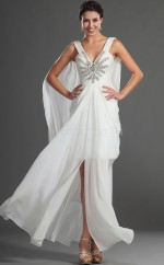 Chiffon A-line V-neck Floor-length White Ball Dresses (NZJT06715)