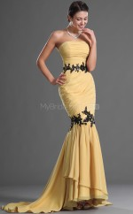 Chiffon Mermaid Strapless Court Train Gold Ball Dresses (NZJT06718)