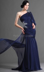Dark Navy Mermaid Court Train Chiffon One Shoulder Ball Dresses (NZJT06719)