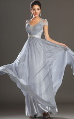 Silver A-line Scalloped Lace Long Ball Dresses (NZJT06720)