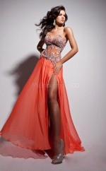 Orange A-line Sweetheart Chiffon Long Ball Dresses (NZJT06722)