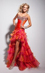 Orange Organza Mermaid Sweetheart Asymmetrical School Ball Gowns(NZJT06724)