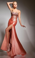 Orange Mermaid Sweetheart Stretch Satin Long Ball Dresses (NZJT06727)