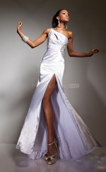 White Mermaid Sweep Train Stretch Satin One Shoulder Ball Dresses (NZJT06730)