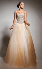 Champagne Ball Gown Sweetheart Tulle Long Ball Dresses (NZJT06731)