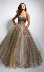 Brown Ball Gown Sweetheart Tulle Long Ball Dresses (NZJT06732)