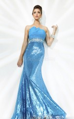 Sequined Mermaid Strapless Sweep Train Ocean Blue Ball Dresses (NZJT06735)
