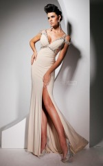 Champagne Mermaid V-neck Chiffon Long Ball Dresses (NZJT06736)