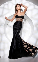 Satin Mermaid Sweetheart Sweep Train Black Ball Dresses (NZJT06738)