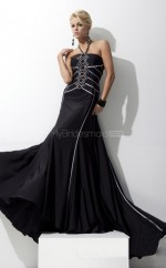 Chiffon Mermaid Halter Sweep Train Black Ball Dresses (NZJT06742)