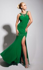 Chiffon Mermaid Halter Sweep Train Clover Ball Dresses (NZJT06743)