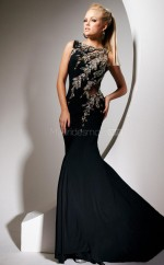 Chiffon Mermaid Bateau Sweep Train Black Ball Dresses (NZJT06749)
