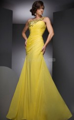 Daffodil Mermaid Sweep Train Chiffon One Shoulder Ball Dresses (NZJT06754)