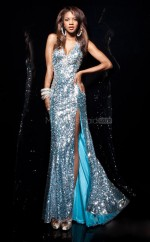 Sequined Mermaid V-neck Sweep Train Pool Ball Dresses (NZJT06755)