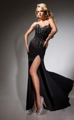 Chiffon Mermaid Sweetheart Sweep Train Black Ball Dresses (NZJT06756)