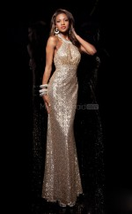 Champagne Mermaid Sweetheart Sequined Long Ball Dresses (NZJT06762)