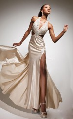 Champagne Mermaid Halter Stretch Satin Long Ball Dresses (NZJT06764)