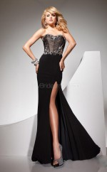 Chiffon Mermaid Sweetheart Sweep Train Black Ball Dresses (NZJT06768)
