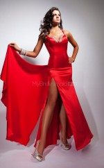 Satin Chiffon Mermaid Halter Sweep Train Red Ball Dresses (NZJT06772)