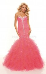 Watermelon Mermaid Sweetheart Organza Long Ball Dresses (NZJT06777)
