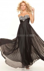 Silk Like Chiffon A-line Sweetheart Sweep Train Black Ball Dresses (NZJT06791)