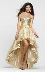 Sequined A-line Sweetheart Asymmetrical Gold Ball Dresses (NZJT06795)