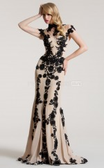 Champagne Mermaid High Neck Chiffon Long Ball Dresses (NZJT06796)