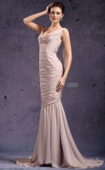 Champagne Mermaid Cowl Chiffon Long Ball Dresses (NZJT06803)