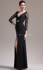 Chiffon Mermaid V-neck Floor-length Black Ball Dresses (NZJT06814)
