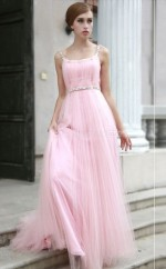 Tulle A-line Square Sweep Train Blushing Pink Ball Dresses (NZJT06822)